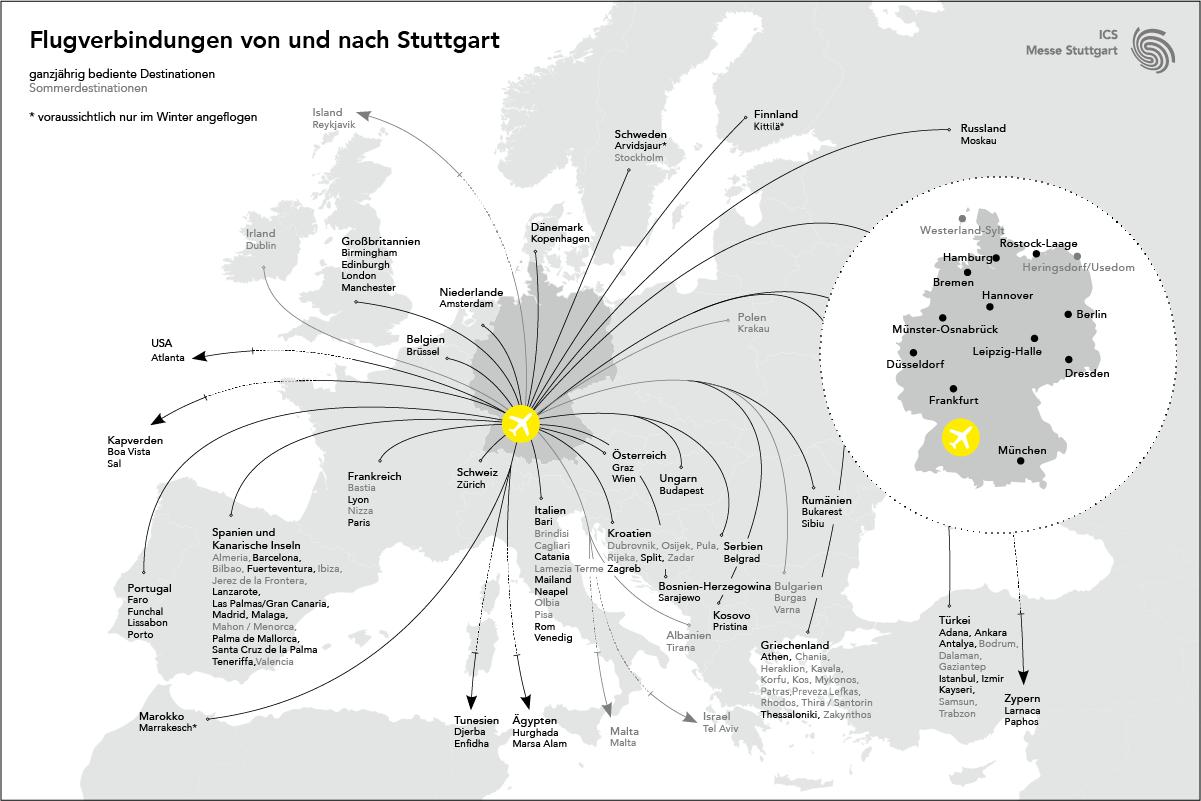 Flugverbindungen von und nach Stuttgart