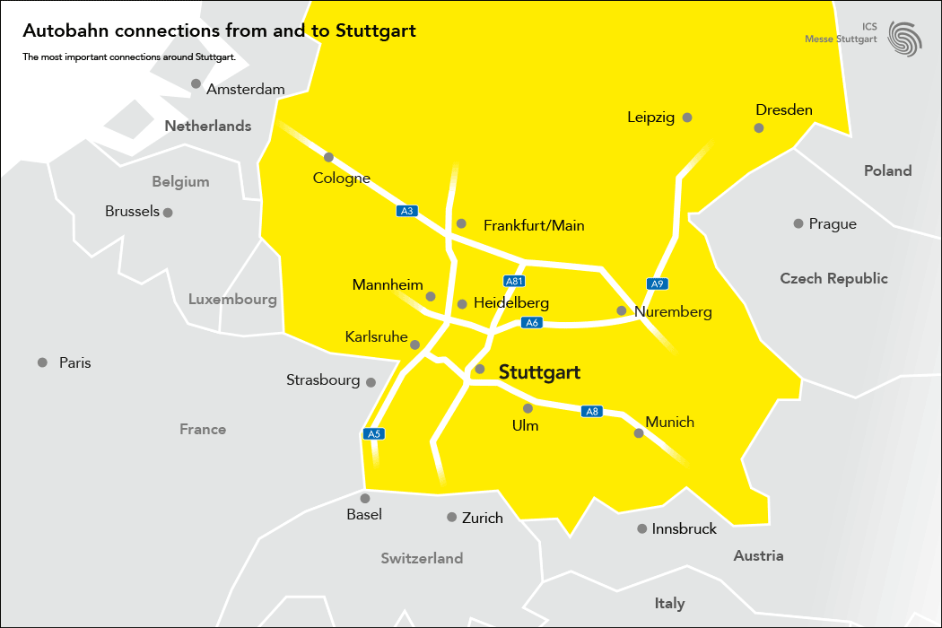 Autobahn connections from and to Stuttgart