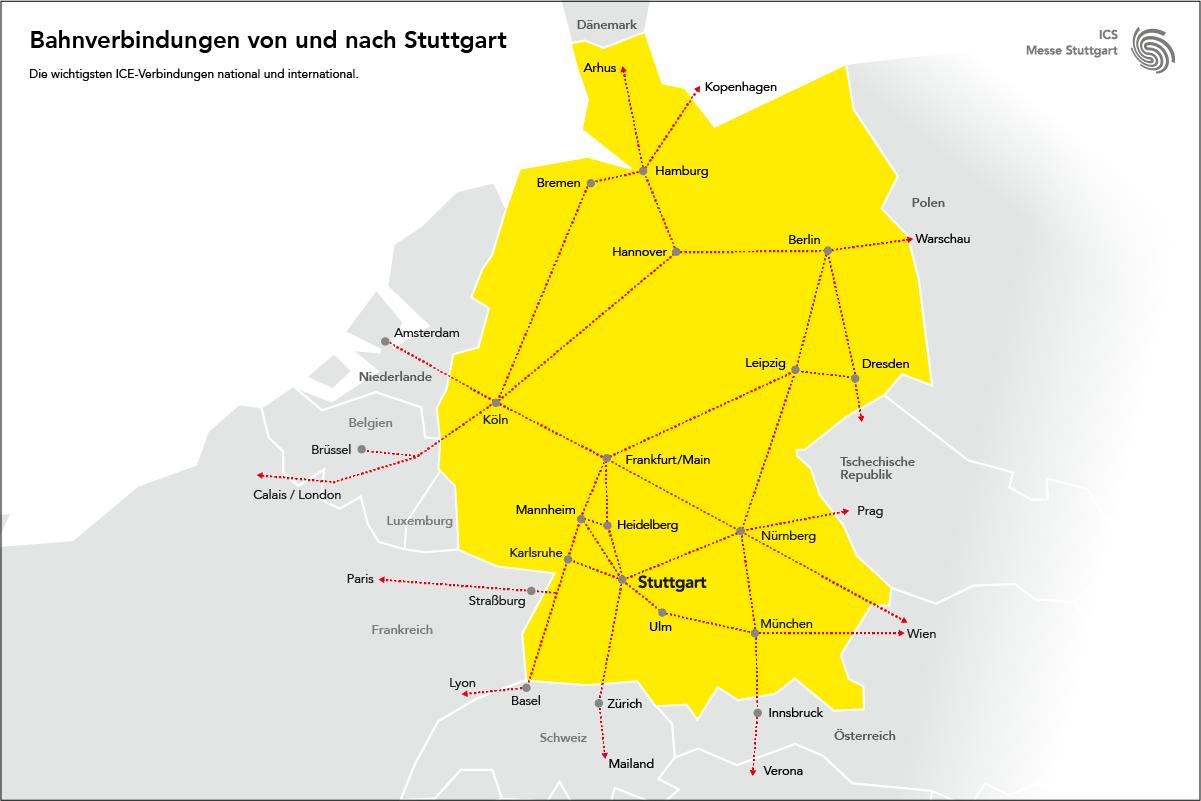 Bahnverbindungen von und nach Stuttgart