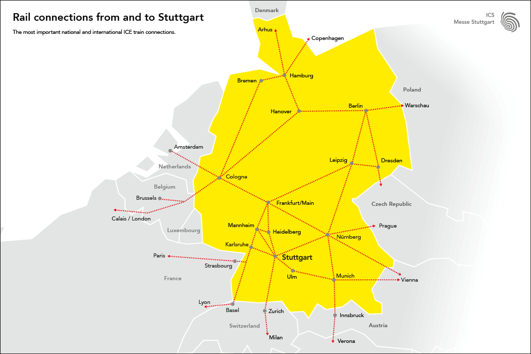 Rail connections from and to Stuttgart